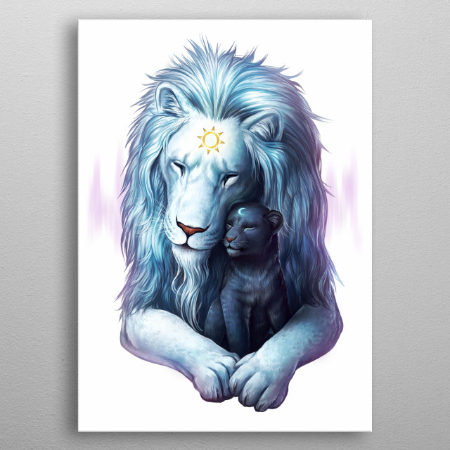 Illustration of two lions, a father and a cub. Part of my Yin and Yang animal series Symbols of Life. metal poster