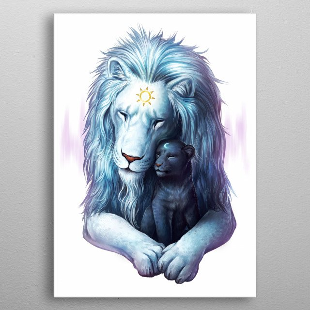 """Illustration of two lions, a father and a cub. Part of my Yin and Yang animal series """"Symbols of Life"""". metal poster"""