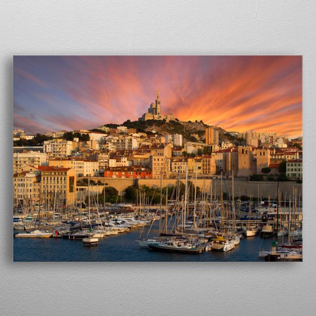 Marseille summer sunset, France metal poster