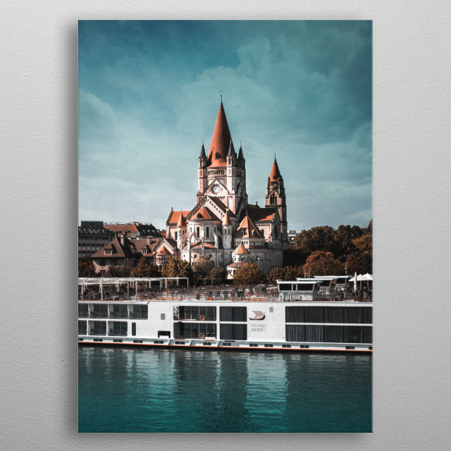 View of San Francis church in Wien, reflecting in the Danube river. metal poster