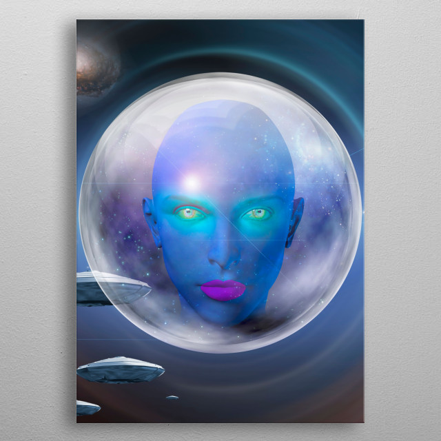 The face of female alien. Flying saucers in deep space on a background metal poster