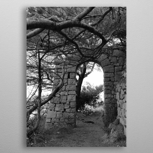 A walk on the sea side by photographer Tom Vandenhende in Saint-Tropez on the French Rivièra. metal poster
