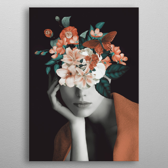 WOMAN WITH FLOWERS 7 metal poster
