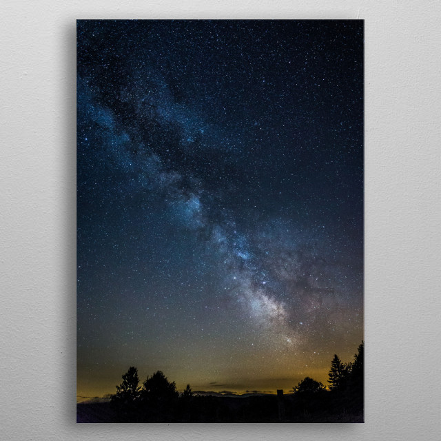 Milkyway above the trees metal poster
