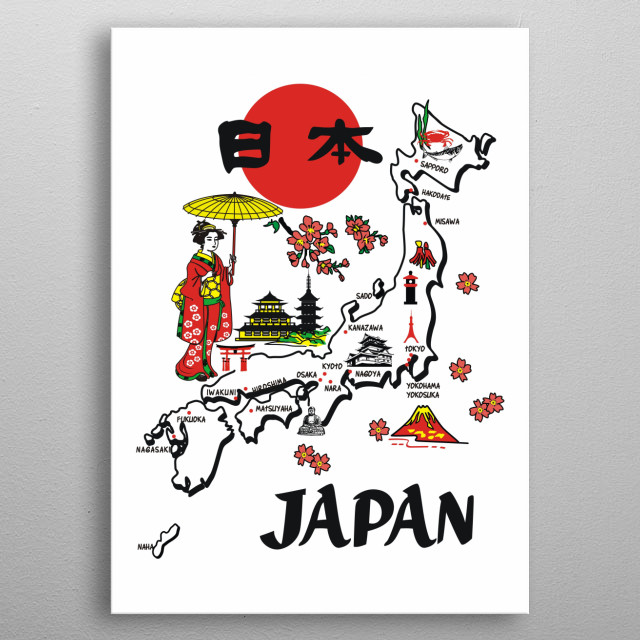 JAPANESE CULTURE map by zaenal arifin | metal posters - Displate