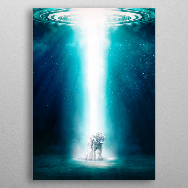 Astronaut touching down on unknown planet. metal poster