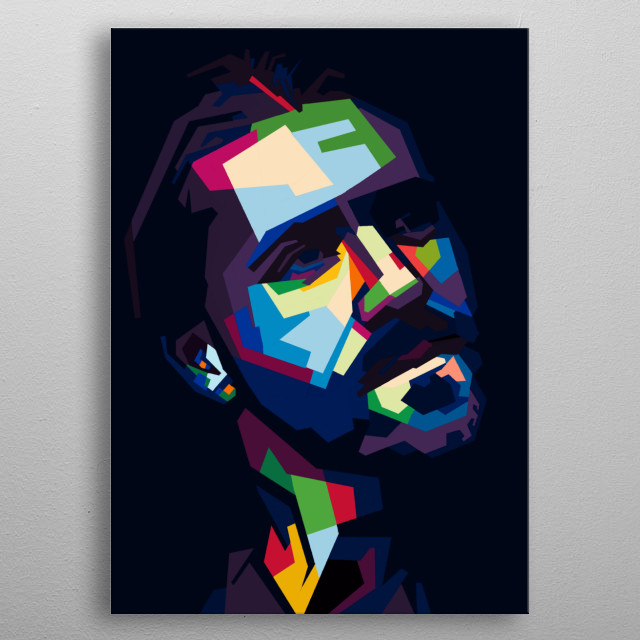 Man's pose in style wpap pop 's pose colorful.color emotions series metal poster