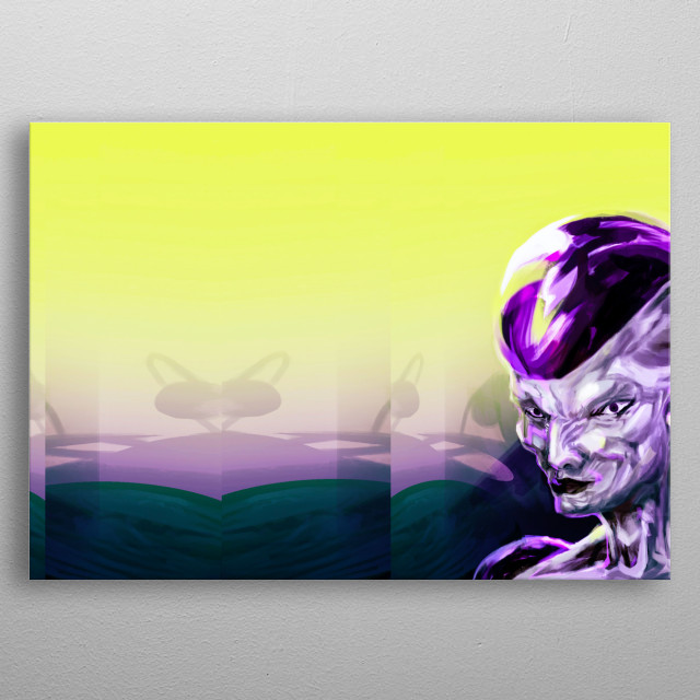 a digital illustration selecting frieza's portraits with an application of complementry contrast metal poster