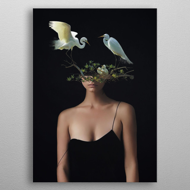 Lady with Birds 3 metal poster