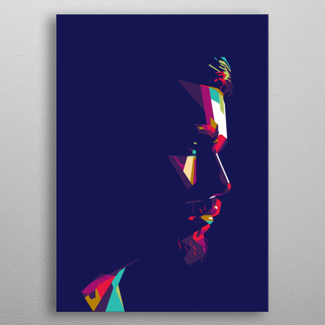 a portrait male fantasy. colorful emotion series. metal poster