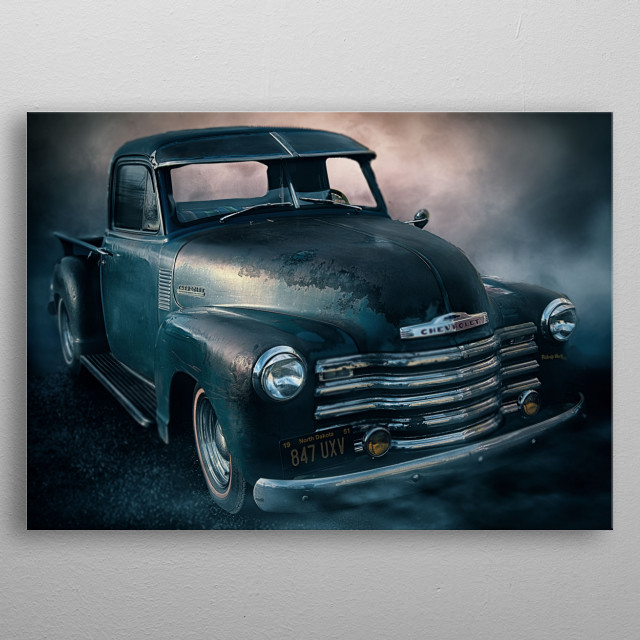 Classic '48 chevvy five window truck with gorgeous patina. metal poster