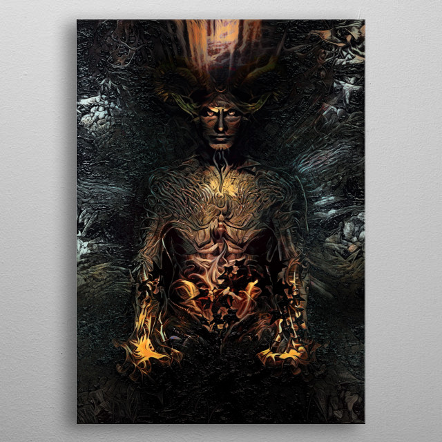 Celebration of Yule and the rebirth of the Horned God , The Holly King. metal poster