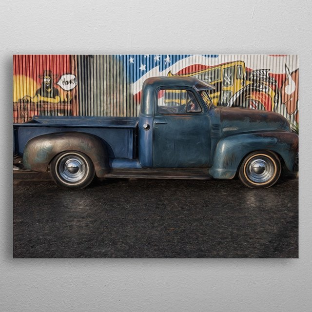 classic chevvy truck with cntemporary graffiti backdrop metal poster