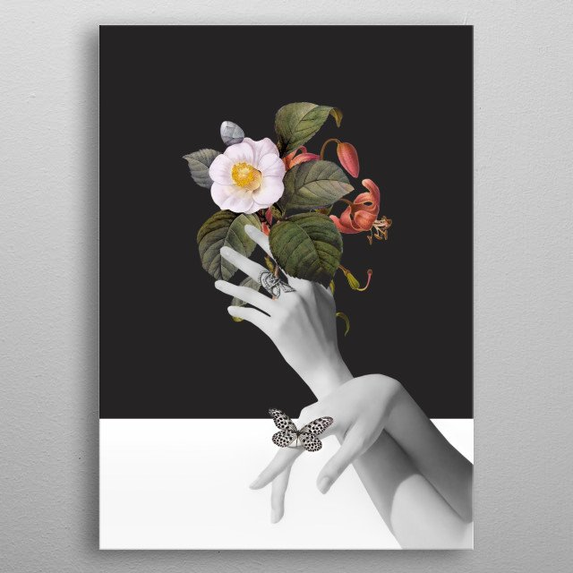 Hands With Flowers metal poster