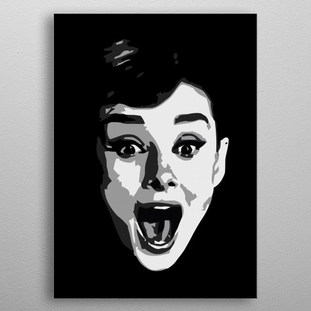 Minimalist portrait of Audrey Hepburn metal poster