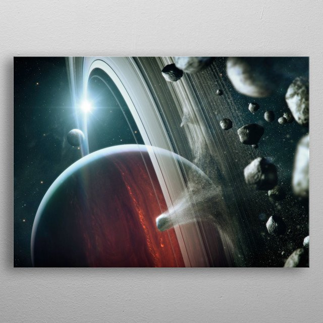 Asteroid flyby in a galaxy far away. metal poster