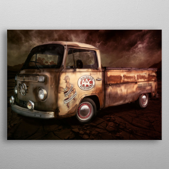Apocalyptic ratrod Vdub truck with doomsday style edit metal poster