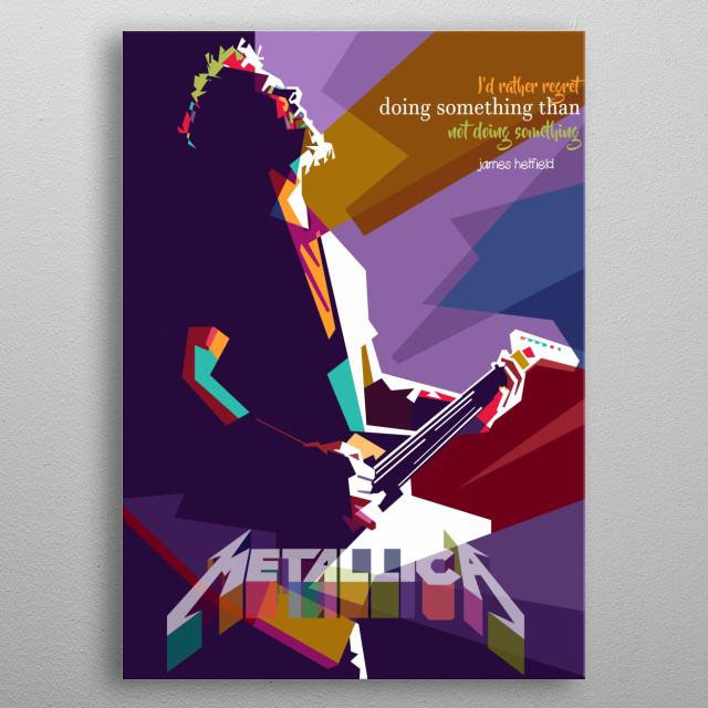 james hedfield in pop art color style metal poster