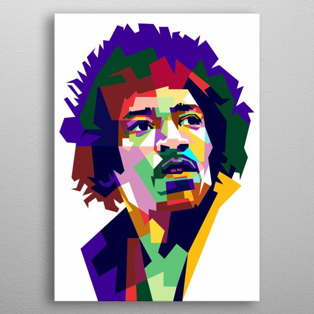 Jimi Hendrix Design Illustration Wpap Style metal poster