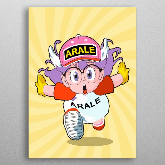 art inspired by Arale Norimaki is a manga and anime protagonist created by Akira Toriyama, Dr. Slump, a crazy 13-year-old ginoid girl  metal poster