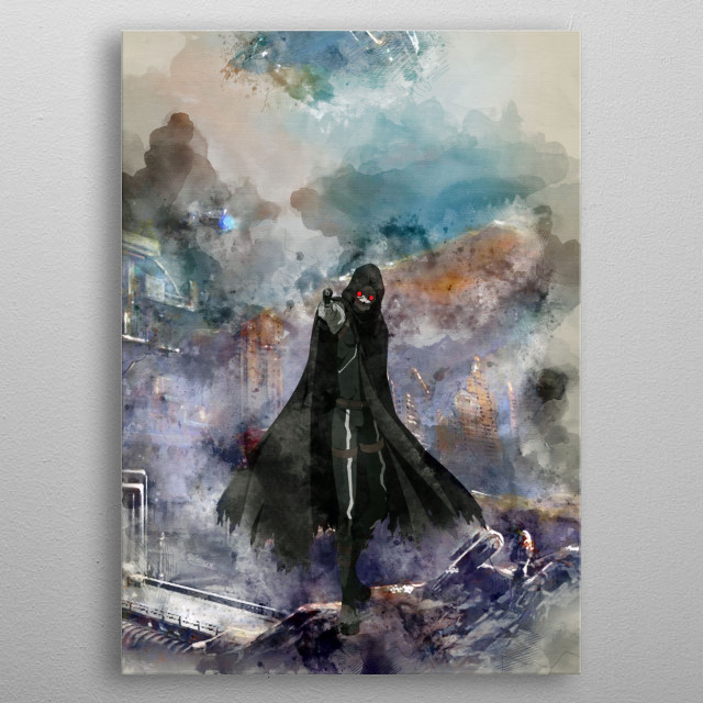 Death Gun with watercolor effects  metal poster