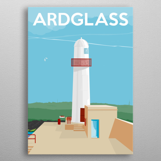 The beautiful coastal town of Ardglass hosts many stunning sights. The Lighthouse on the North Pier inspired this illustration. metal poster