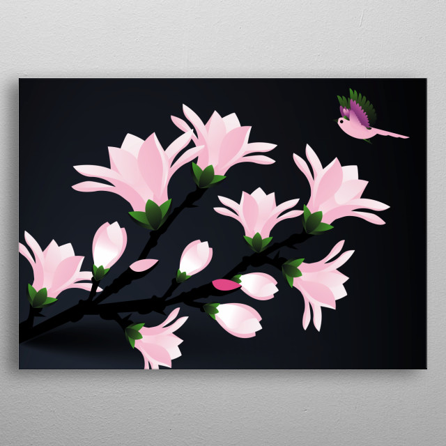 inspired by beautiful magnolia flowers and Hummingbird metal poster