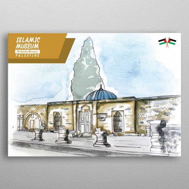 water color image about Islamic Museum from al aqsha mosque in jerusalem palestine metal poster