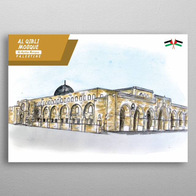 water color image about Al Qibli Mosque from al aqsha mosque in jerusalem palestine metal poster