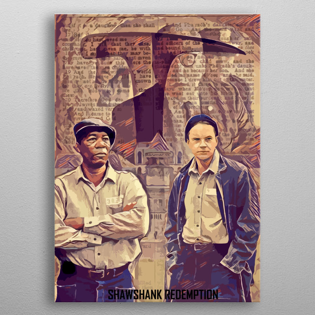 Artwork inspired from movie Shawshank Redemption, created by Top Notch Prints. metal poster