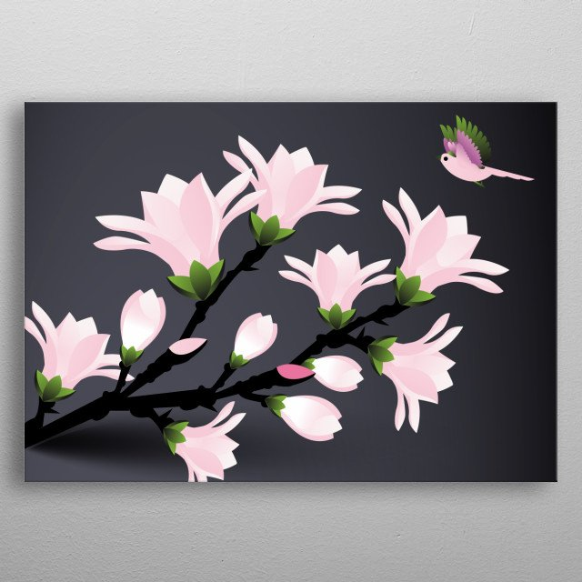 bird with magnolia flowers inspired by beautiful magnolia blooming and minimalistic style metal poster