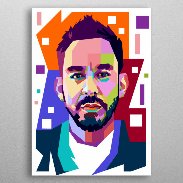 A colorful illustration figure of Linkin Park's Personel metal poster