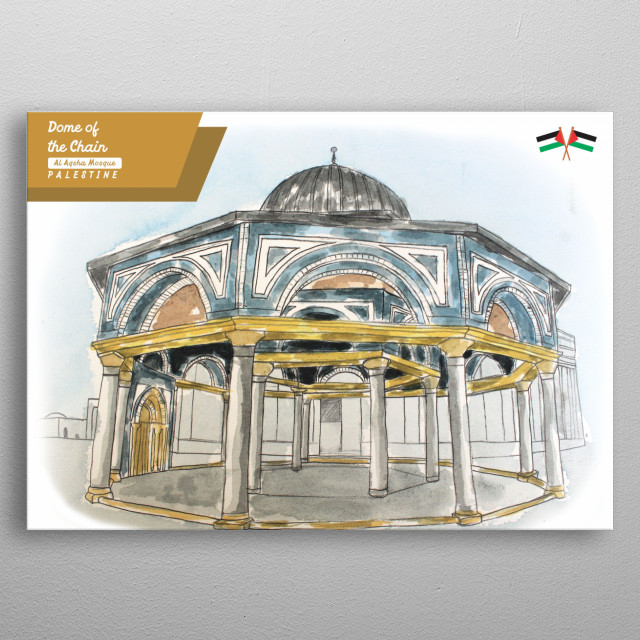water color image about dome of the chain from al aqsha mosque in jerusalem palestine metal poster