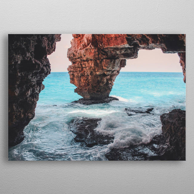 A bucholic place to relax, with the sound of the waves, and the wind blowing in the cave metal poster