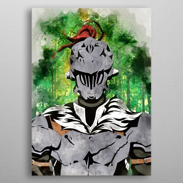 Goblin Slayer with watercolor effects metal poster
