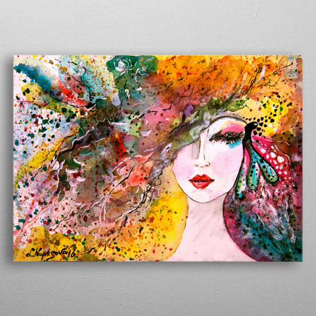 Watercolor painting by Liubov Kuptsova metal poster