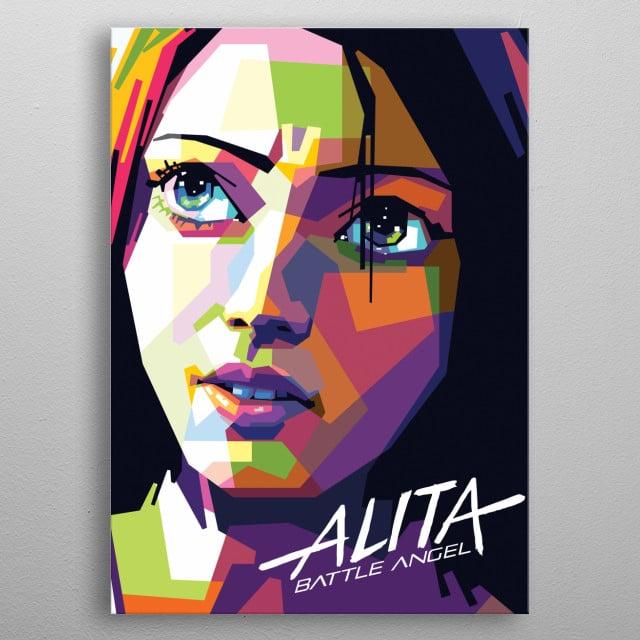 Alita from the movie Alita: Battle Angel. metal poster