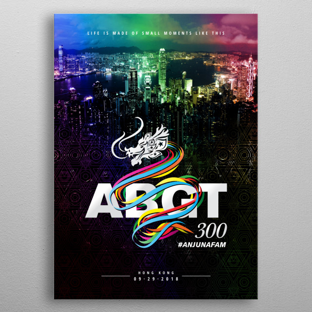 Fanart: Rainbow light overlaid Hong Kong city nightscape overlooking Victoria harbour with ABGT300 logo. metal poster