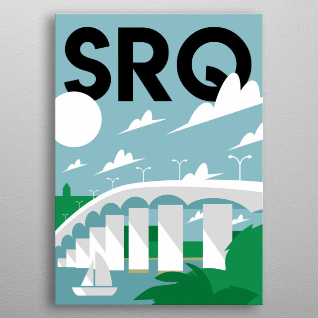 Let your hair down as you cross the iconic John Ringling Causeway Bridge in this minimalist poster featuring Sarasota, Florida.  metal poster