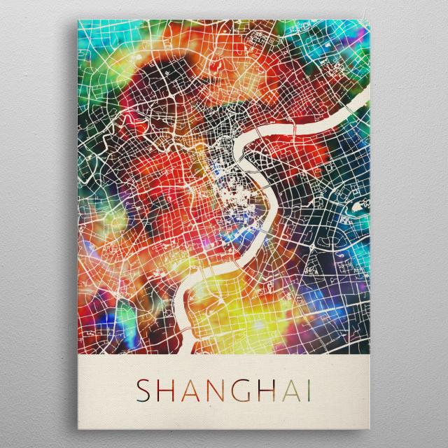 Shanghai China Watercolor Street Map metal poster
