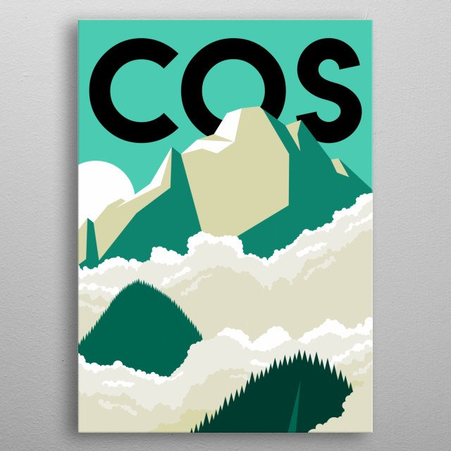 Ride the Manitou Springs cog train up to the top of Pikes Peak in this minimalist poster featuring Colorado Springs, Colorado.  metal poster