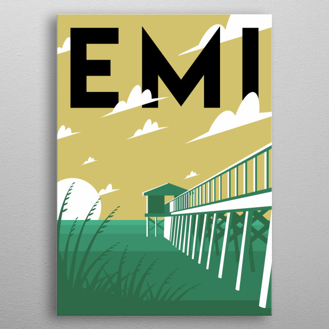 Take a stroll across the sands of Emerald Isle, North Carolina in this minimalist poster.  metal poster