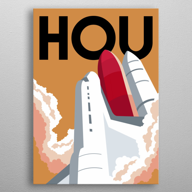 Blast off to space aboard NASA's space ship Endeavour from Space Center Houston, Texas in this minimalist poster. metal poster