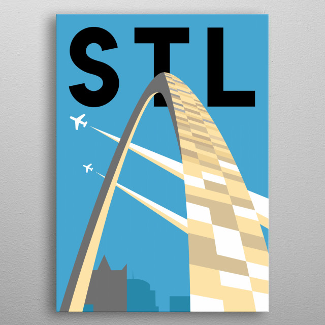 Pass under the iconic Gateway Arch towards Western expansion in this minimalist poster featuring St. Louis, Missouri.  metal poster