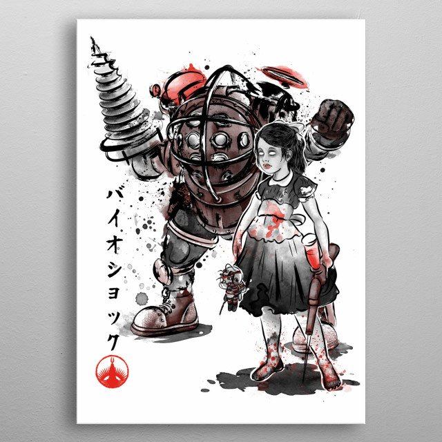 Big Daddy and Little Sister sumi-e metal poster