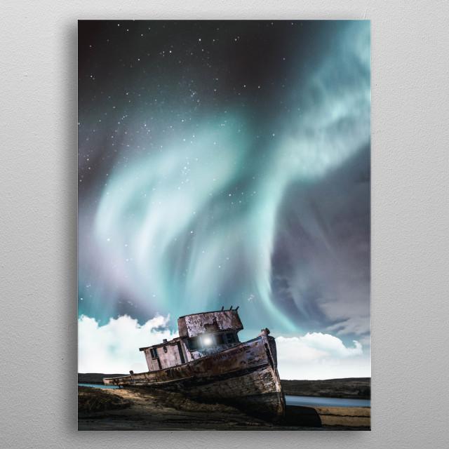 Boat under aurora metal poster