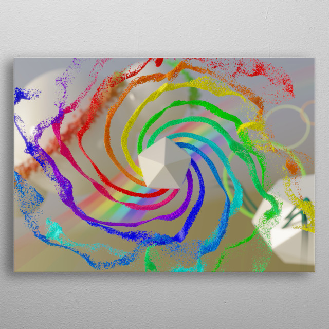 Hexagon pouring colorful fluid in zero gravity environment with abstract background metal poster