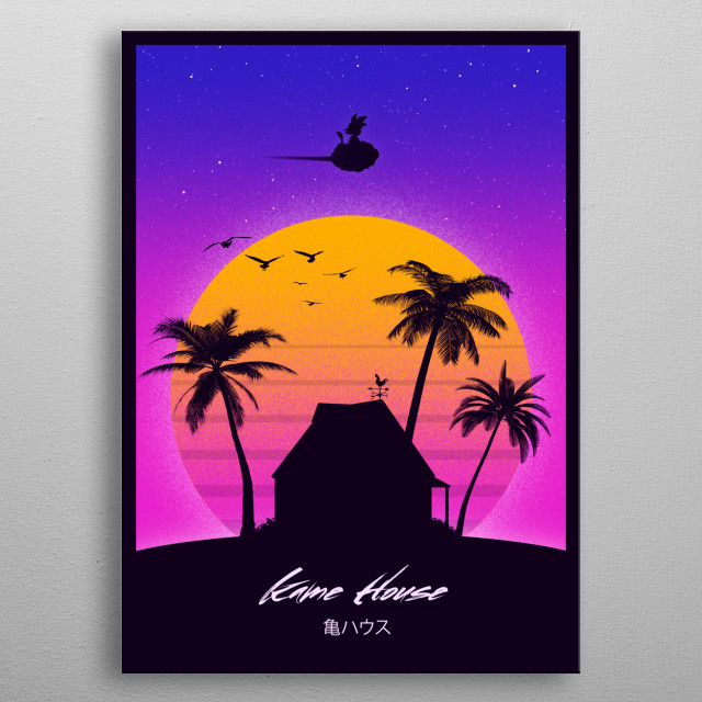 Retro style for Kame House metal poster