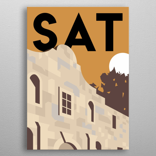 Remember the Battle of the Alamo in this minimalist poster featuring San Antonio, Texas.  metal poster