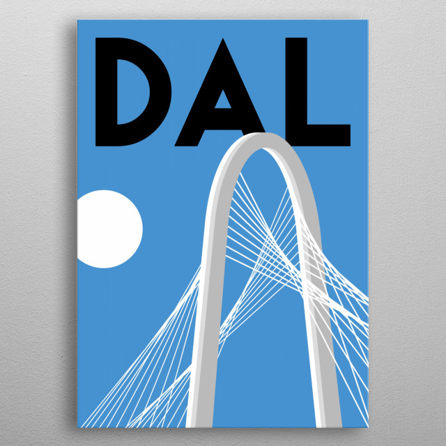 Journey across the Margaret Hunt Hill Bridge into this Lone Star minimalist poster featuring Dallas, Texas. metal poster